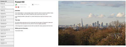 My London hills pages in desktop mode